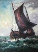 Vogel, Willi. 1909 - 1987 Bremen. Fischkutter auf hoher See vor Helgoland. Öl/ Lw. Sign. u. li. 80 x