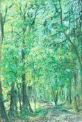 Hallier, Hans Theodor. 1908 Tokio - 1982 Heiligenrode. Im Heumannsbusch / Sonniger Waldweg. Öl/