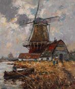 Haerendel, Heinrich (Harry). 1896 - Hamburg -1991. Holländischer Kanal mit Windmühle. Öl/ Lw.