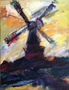 """Lorsch, Sandro v. 1919 - Hamburg - 1992. Windmühle im Abendlicht. Öl/Lw. Signiert u. re. """"Sandro"""
