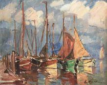 Wilke, Paul Ernst. 1894 Bremerhaven - 1972 Lilienthal. Fischerboote im Hafen. Öl/ Holz. Sign. u. re.