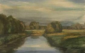 "Modersohn, Christian. 1916 - 2009 Bremen. ""Die Wümme in der Morgensonne"". Aquarell. 2003. Sign. u."