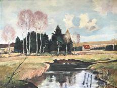 Schmidt, G. od. O. Deutscher Landschaftsmaler, um 1950. Flusslandschaft mit kleinem Gehöft. Öl/