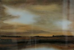 Migge-Nagel, Hildegard. Worpsweder Künstlerin. Blick über die Moorlandschaft. Aquarell.