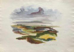 Dzikowski, Marianne. Bremer Malerin, 20. Jhrd. Auf der Hallig. Aquarell. 1987. Signiert u. dat. u.