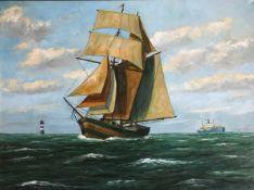 Clausing, Claus. Bremer Maler, 20. Jh. Segelschiff und Dampfer vor dem Leuchtturm Roter Sand/