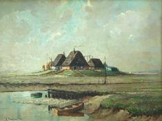Brockmüller, Henry. Hamburger Maler, 20. Jh. Hallig im Sommer. Öl/ Holz. Sign. u.li. 47,5 x 63 cm.