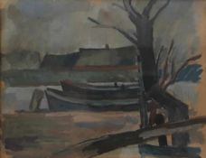Grave, E. (Erwin?). Bremer Maler. Konvolut 4 Bll.: Kähne am Ufer. Gouache. 1940er Jahre. Monogr.