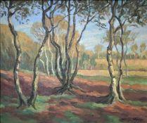 """Stöver, Wilhelm Heinrich. 1895 - 1980 Bremen. """"Herbst im Moor"""". Öl/ Malpappe. Sign. u. re. Wilh."""