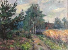 Vogel, Willy. 1909 - Bremen - 1987. Worpsweder Landschaft / Gehöft am Karl Krummacher Weg (?). Öl/