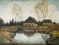 Szerbakow, Fedor. 1911 Eckertsdorf - 2009 Seebergen. Katen im Moor. 1930er Jahre. Öl/ Hartfaser,