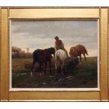 Julius von Blaas (1845 - 1922) Pferde an der Tränke 1875 Öl auf Holz Signiert und datiert 32 x 41