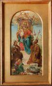 Hans Zatzka (1859 - 1945) Madonna mit Jesus 1888 Öl auf Holz Signiert und datiert 46 x 24 cm