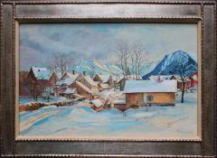 Stephanie Hollenstein (1886 - 1944) Verschneites Dorf Gouache auf Papier Signiert 31 x 48 cm