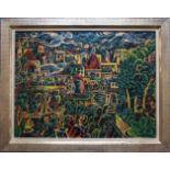 Franz von Zülow (1883 - 1963) Fantasie Stadt 1920 Handkolorierte Lithographie Signiert und datiert