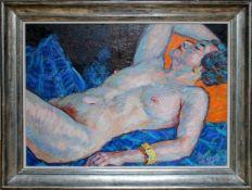 Georg Pevetz (1893 - 1971) Liegender Akt 1954 Öl auf Platte Signiert und datiert 59 x 80 cm
