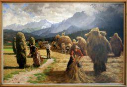 Egon Stoitzner (1903 - 1977) Ernte, Motiv aus Salzburg mit dem Hohen Göll 1936 Öl auf Leinwand