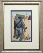 Carl Fahringer(1874 - 1952)HandgranatenwerferAquarell auf PostkarteMonogrammiert und betitelt15 x