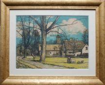 Josef Stoitzner (1884 - 1951) Windmühle 1927 Holzschnitt Signiert und datiert 27 x 37 cm