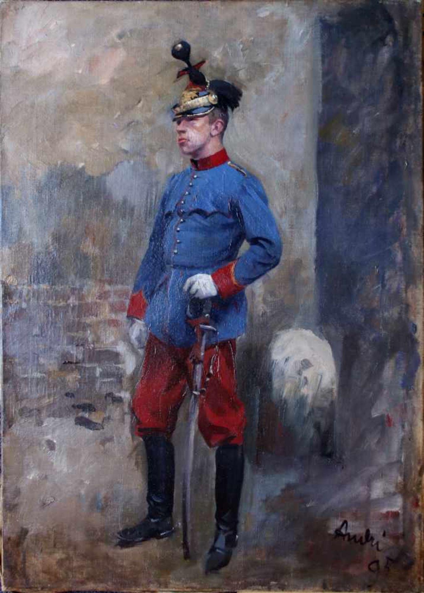 Ferdinand Andri (1871 - 1956) Bildnis eines Einjährig Freiwilligen Landwehr-Ulanen 1895 Öl auf