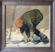 Hugo Hodiener (1886 - 1945) Schifahrer Öl auf Holz Signiert, Rückseitig Nachlassstempel 64,5 x 69