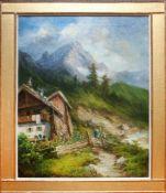 Georg Geyer (1823 - 1912) Blick aus Saalfelden Öl auf Leinwand Signiert 66 x 53 cm