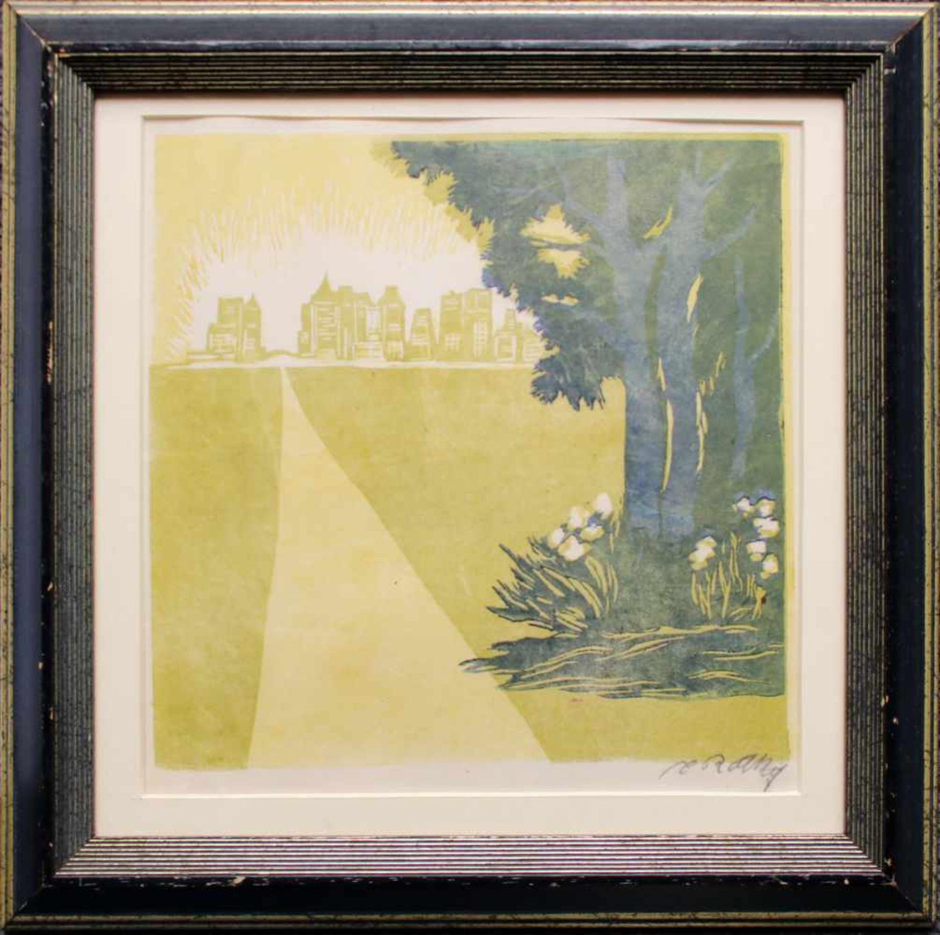 Carl Rotky (1891 - 1977) Weg zur Stadt Farblinolschnitt Signiert 22 x 22 cm