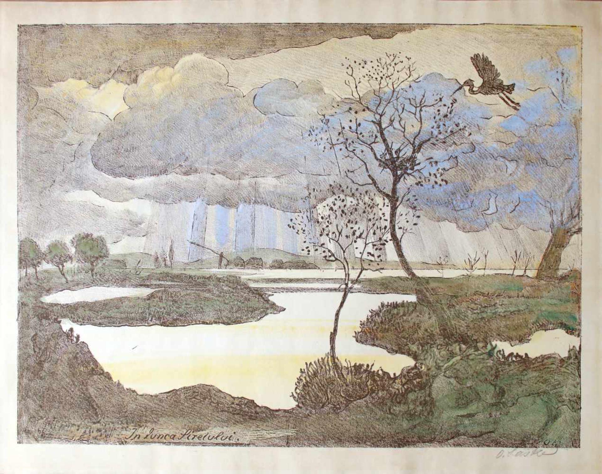 Oskar Laske(1874 - 1951)In Lunca Siretului (Auf der Wiese des Siret)Farblithographie,