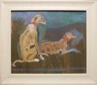 Carl Fahringer (1874 - 1952) Windhunde Öl auf Karton Signiert 23 x 27 cm
