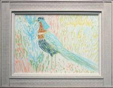 Gerhild Diesner (1915 - 1995) Fasan 1963 Ölkreide auf Papier Signiert und datiert ; Restaurierte