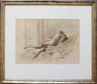 Ladislaus von Benesch (1845 - 1922) Baumstumpf im Wald 1885 Tusche und Aquarell auf Papier