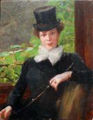 Otolia Kraszewska (1859 - 1945) Selbstportrait 1901 Öl auf Holz Monogrammiert 27 x 21 cm