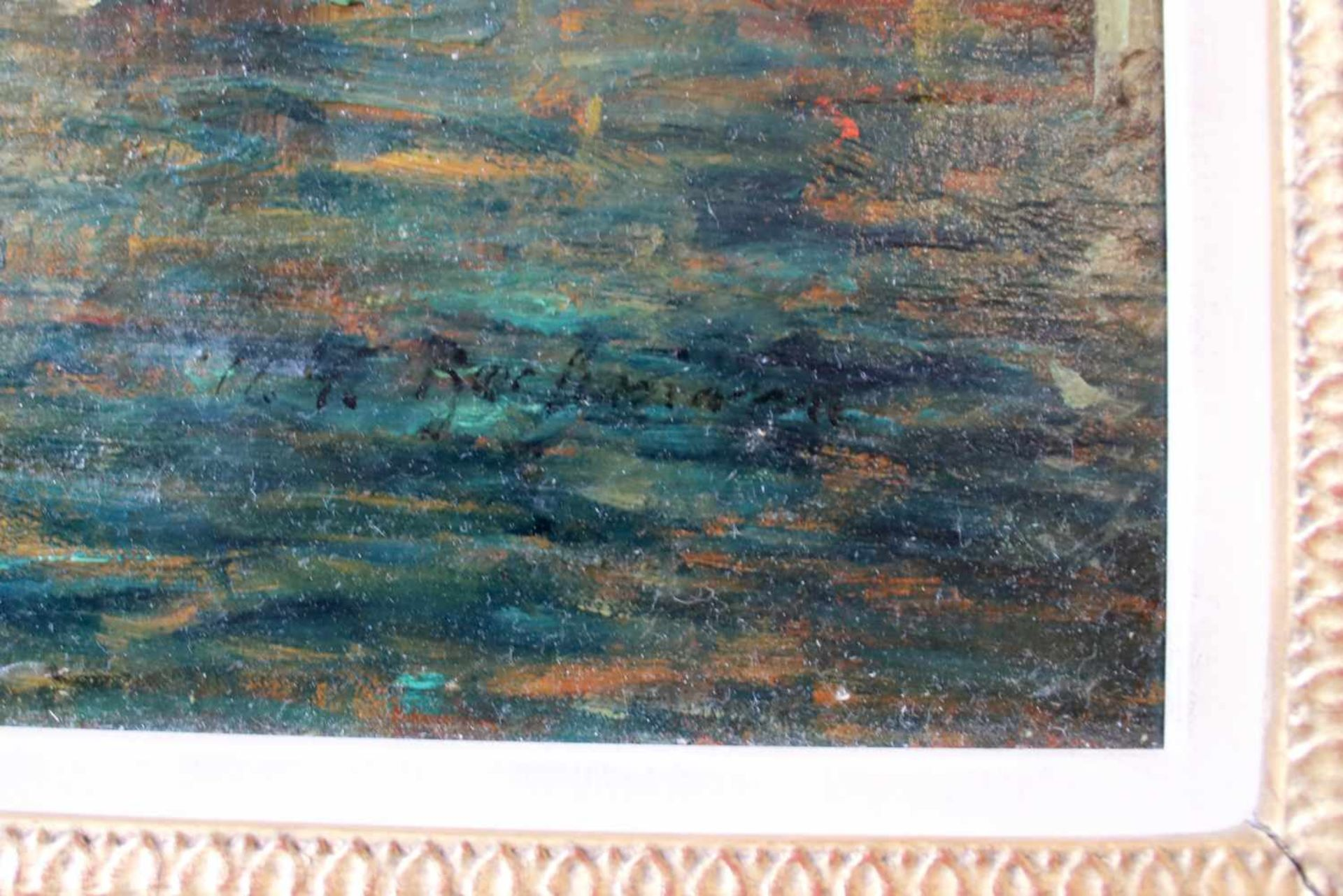 Alfred August Felix Bachmann (1863 - 1956) Blick auf Venedig Öl auf Leinwand Signiert 51 x 74 cm - Bild 2 aus 2