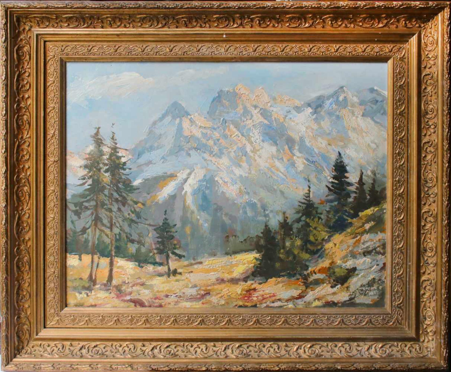 Wilhelm Kaufmann (1895 - 1975) Viererspitze in der Nördlichen Karwendelkette Öl auf Platte