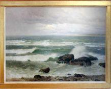 Thomas Leitner (1876 - 1948) Küste vor Triest 1914 Öl auf Leinwand Signiert, datiert und betitelt
