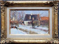 Hugo Mühlig (1854 - 1929) Bauernhof im Winter Öl auf Karton Signiert 18 x 28 cm