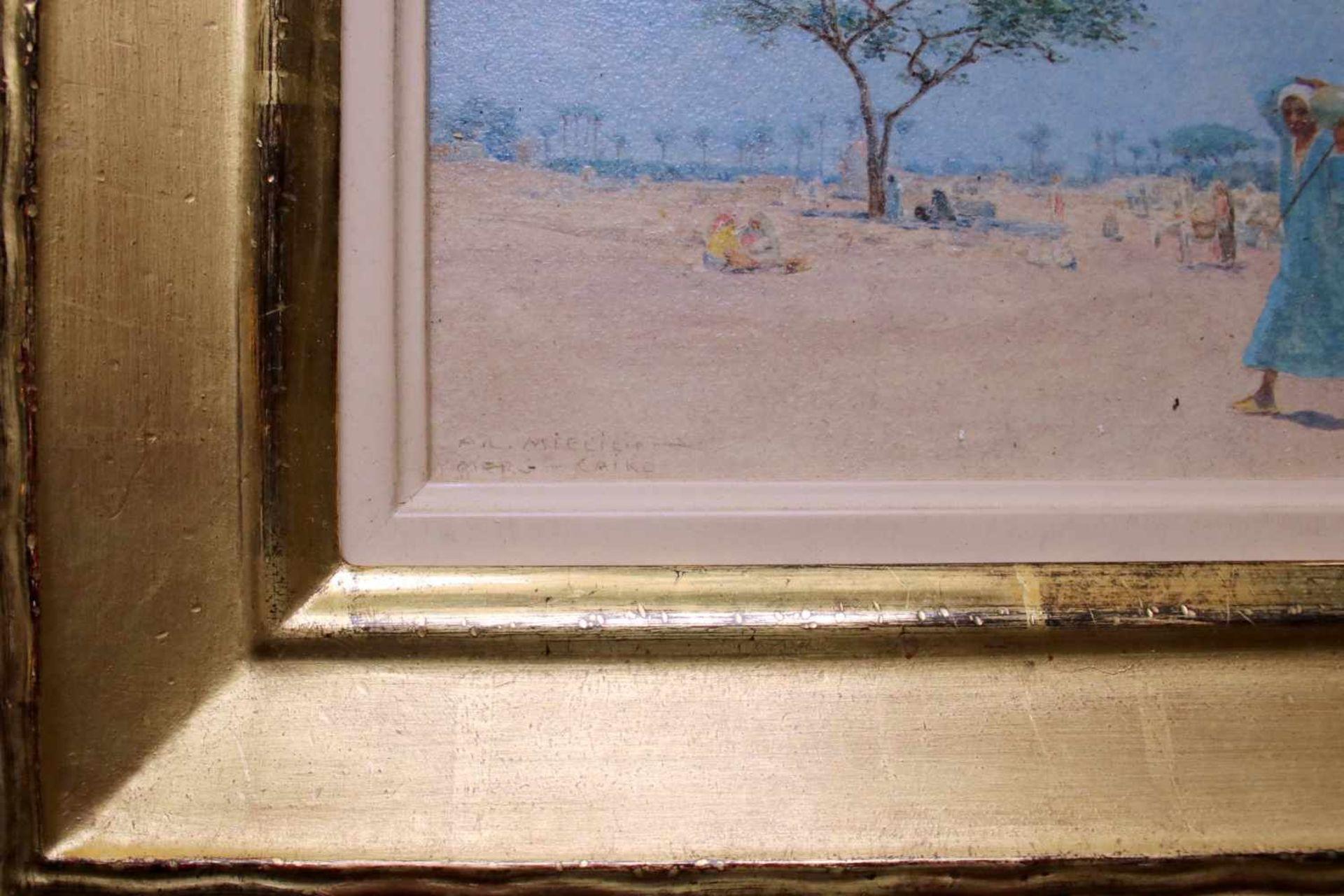 Alphons Leopold Mielich (1863 - 1929) Merg - Cairo Öl auf Karton Signiert und betitelt 7,5 x 16 cm - Bild 2 aus 2
