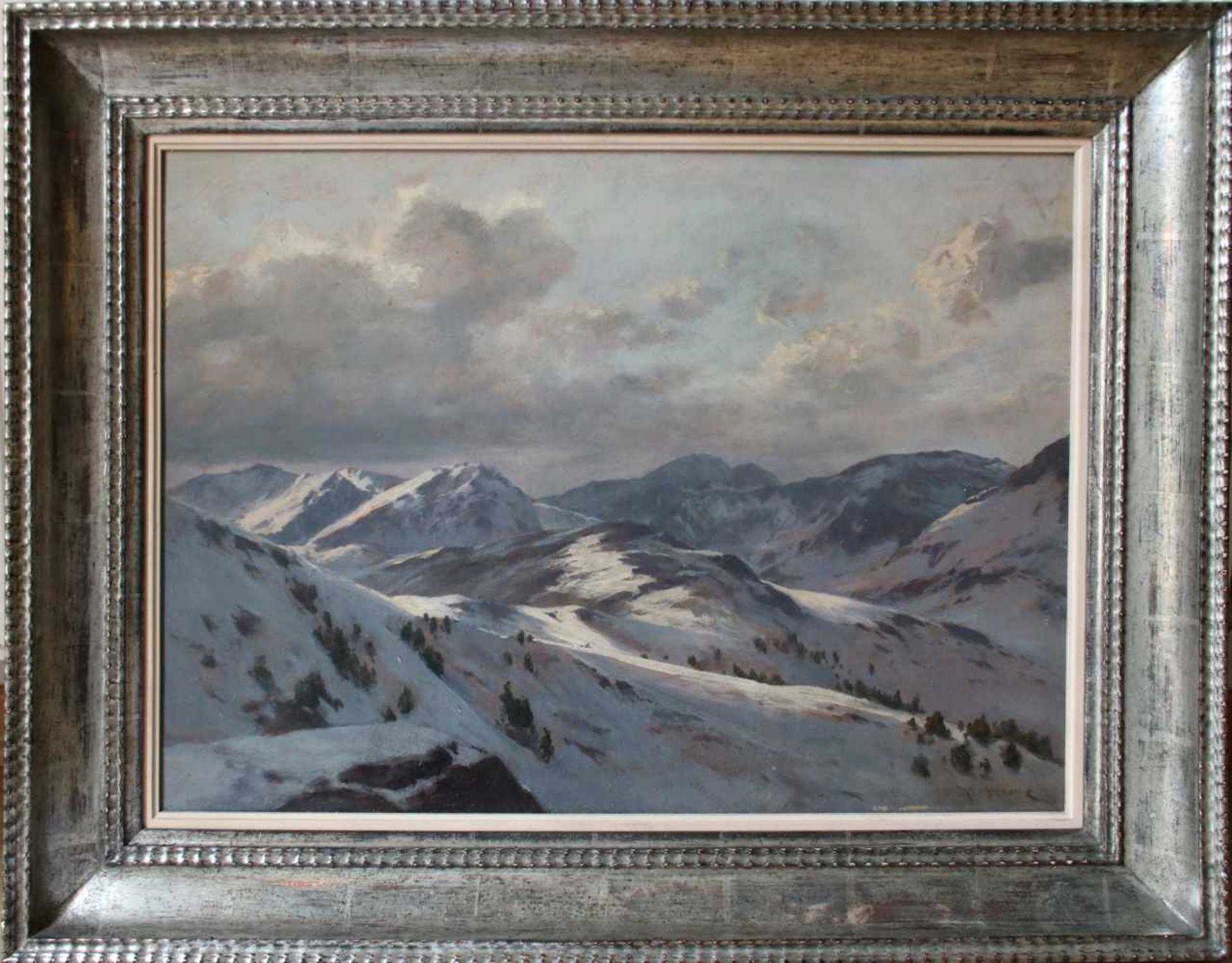 Franz Kulstrunk (1861 - 1944) Winterlandschaft 1922 Öl auf Karton Signiert, kleine Farbabsplitterung