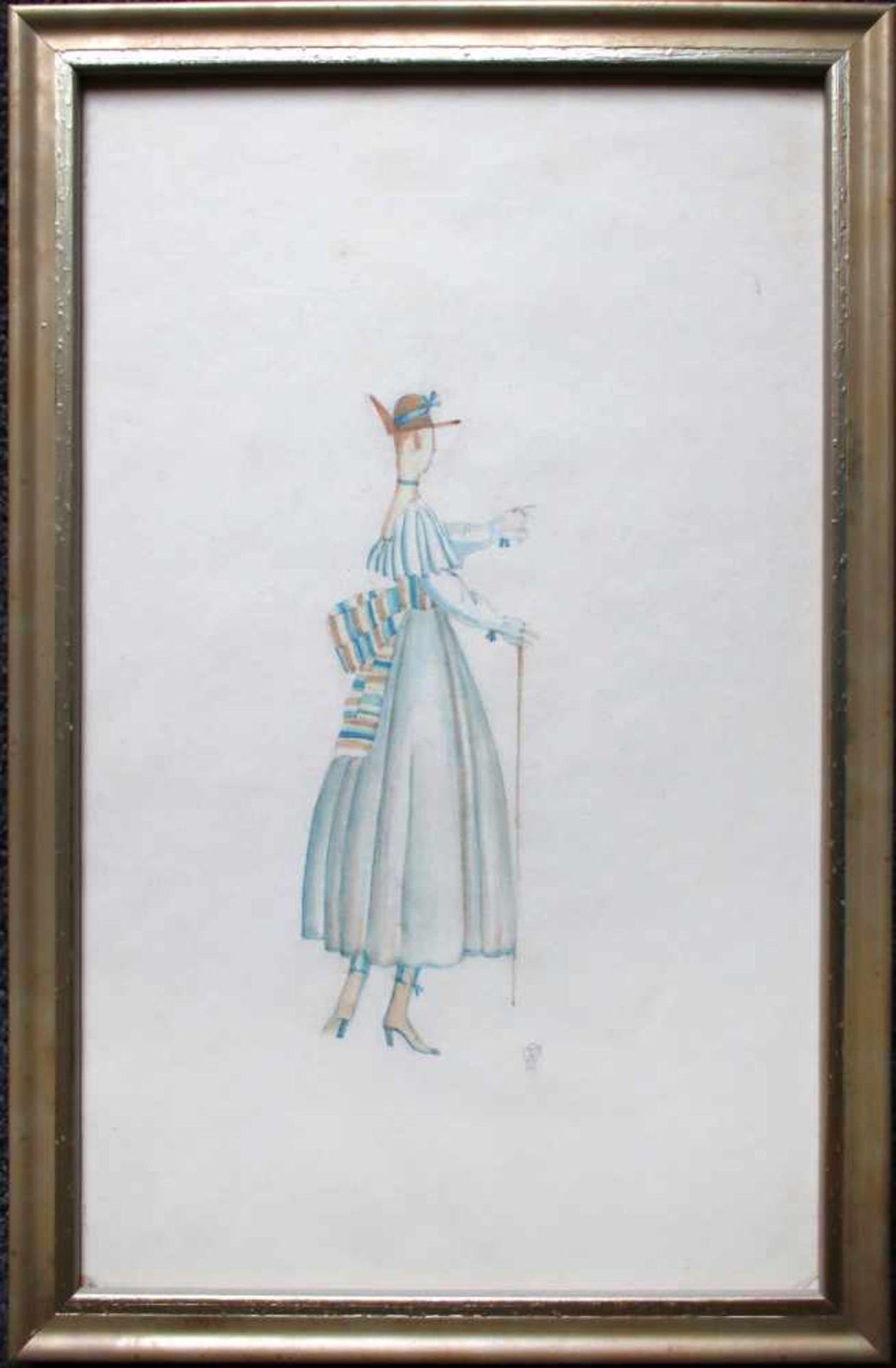 Julius Zimpel (1896 - 1925) Dame mit Gehstock und Hut Aquarell auf Papier Monogrammiert 34 x 22 cm