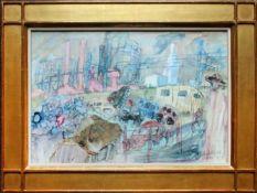 Kurt Moldovan (1918 - 1977) Großstadt 1975 Aquarell auf Papier Signiert und datiert 32 x 47 cm