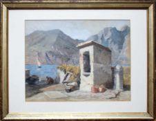Ernst Graner (1865 - 1943) Gebirgssee 1890 Mischtechnik auf Papier Signiert und datiert 30 x 38 cm