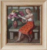 Anton Emanuel Peschka (1885 - 1940) Sitzende Frau mit Blumen 1933 Öl auf Leinwand Signiert und