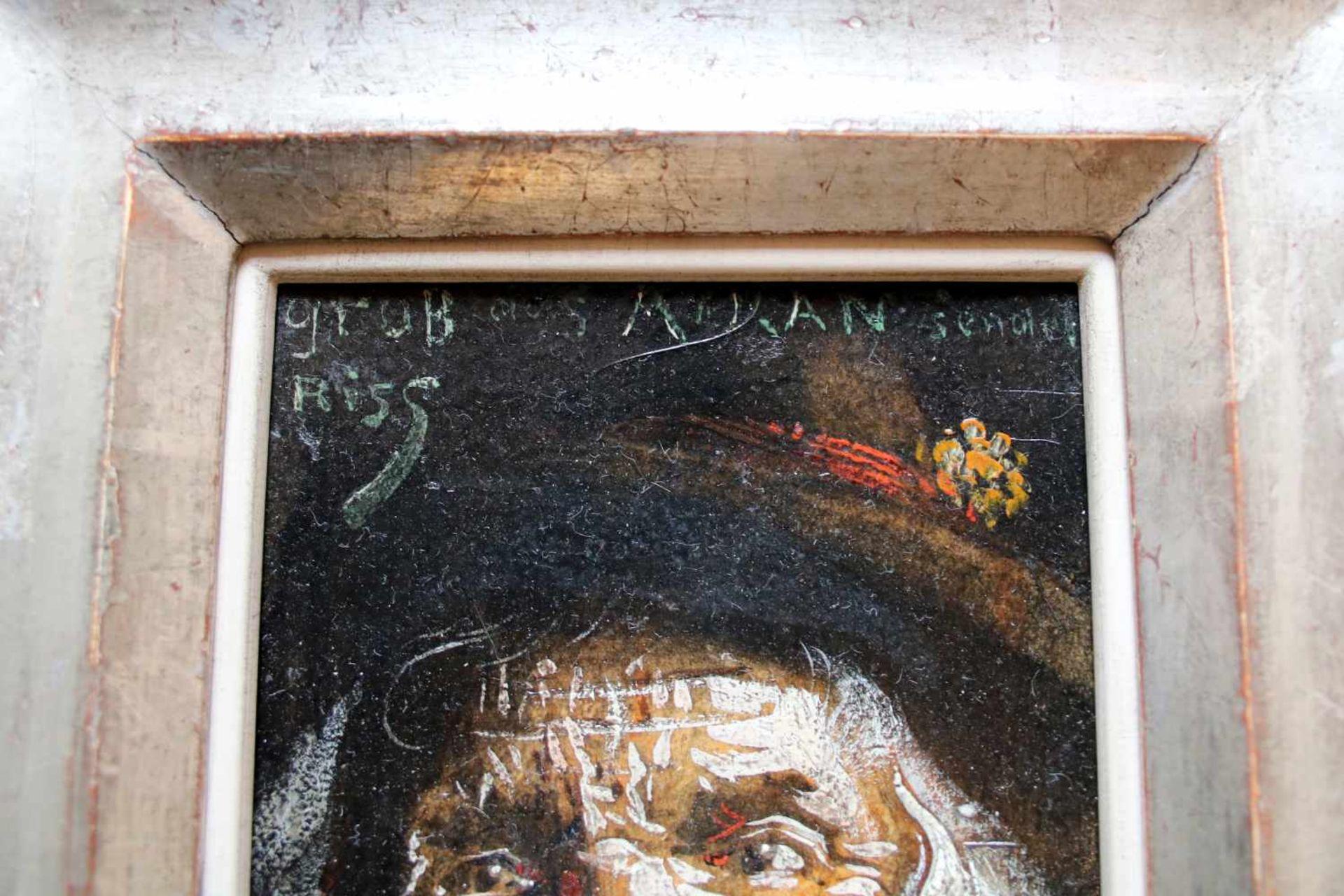 Thomas Riss (1871 - 1959) Alter Mann mit Pfeife Öl auf Karton Signiert 15 x 10 cm - Bild 2 aus 2