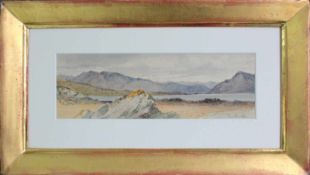 Franz Alt (1821 - 1914) Bergsee 1887 Aquarell auf Papier Signiert und datiert 11 x 31 cm
