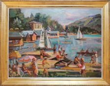 Wilhelm Kaufmann (1895 - 1975) Badetag am Wörthersee Öl auf Karton Signiert und betitelt 60 x 80 cm