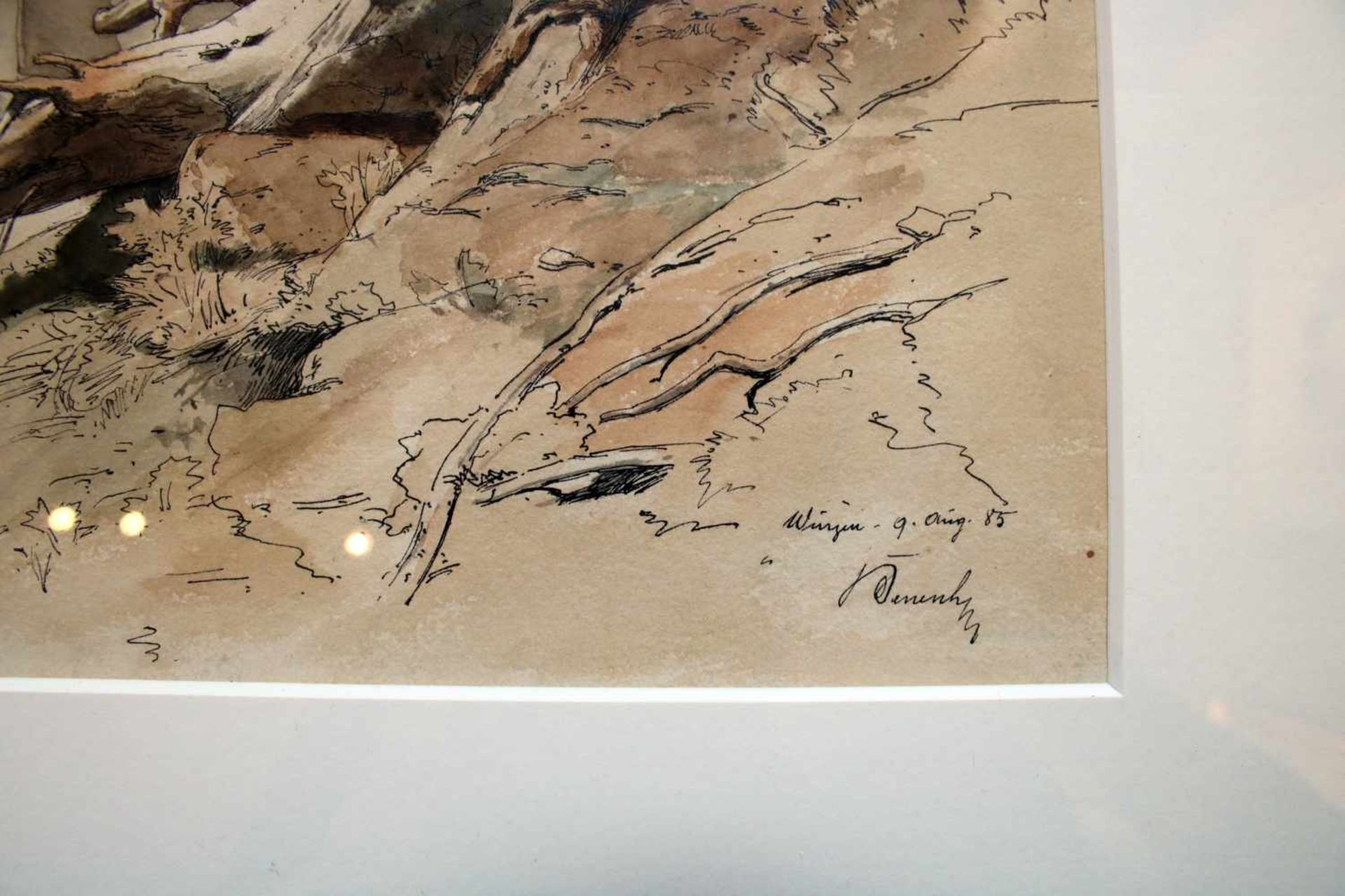 Ladislaus von Benesch (1845 - 1922) Baumstumpf im Wald 1885 Tusche und Aquarell auf Papier - Bild 2 aus 2