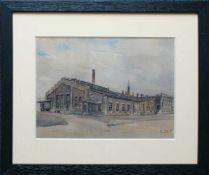 Ernst Graner (1865 - 1943) Fabriksgebäude Aquarell auf Papier Signiert 21 x 29 cm