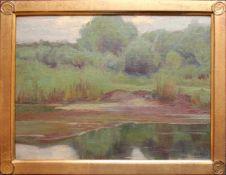 Oswald Grill (1878 - 1964) In der Au Öl auf Karton Signiert 24,5 x 33,5 cm