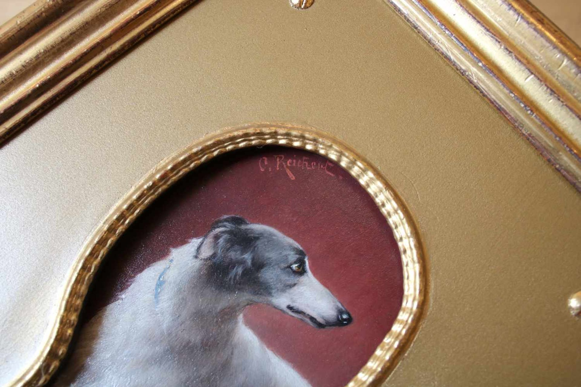 Carl Reichert (1836 - 1918) Hundeportrait durch das Schlüsselloch Öl auf Holz Signiert 17,5 x 8,5 - Bild 2 aus 2