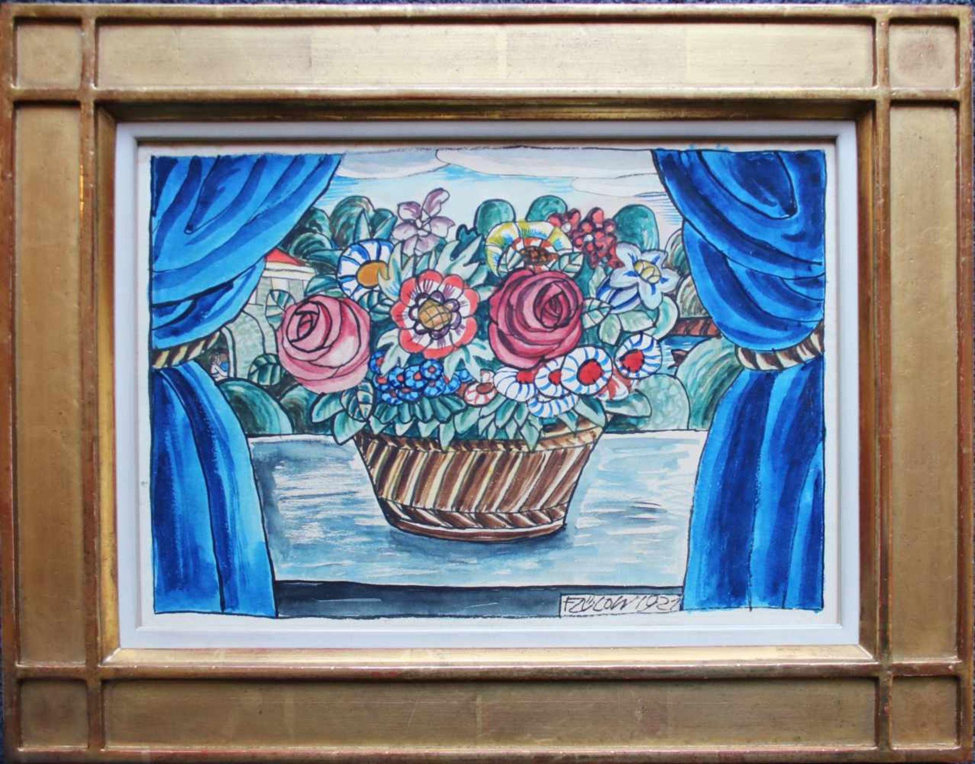 Franz von Zülow (1883 - 1963) Blumen auf dem Fensterbrett 1921 Mischtechnik auf Papier Signiert